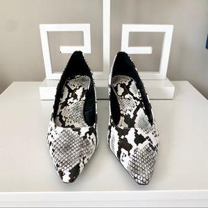 Zara Trafaluc Pointed Toe Snakeskin Block Heel